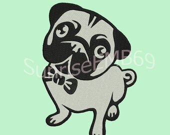 5 Sizes**Pug Dog Embroidery design- 8 formats machine embroidery design - Instant Download machine embroidery pattern