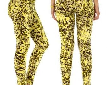Cheetah Print Leggings Yellow Leggings Yellow Printed Leggings Animal Print Leggings Yoga Leggings Womens Leggings FREE U.S. SHIPPING