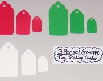 Lot of 24 Sizzix Style Scallop Tags Combo Die-Cuts Choose Green, Red or White Handmade New