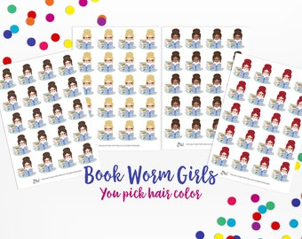 Book Worm Girl Icons- Planner Stickers; Library, Study, Reading