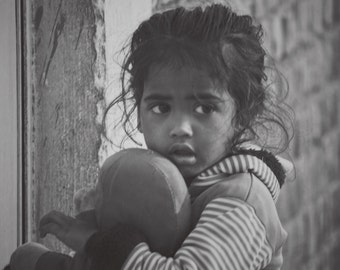 Black and white Portrait of a village girl, India