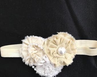 Vintage cream baby infant toddler preemie elastic headband  hand made shabby chic flowers and pearls.