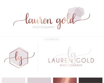 Rose Gold Logo, Rose Gold Branding Kit, Modern Logo, Premade Logo, Photography Logo, Font Logo, Elegant Logo, Blog Logo, Branding Board