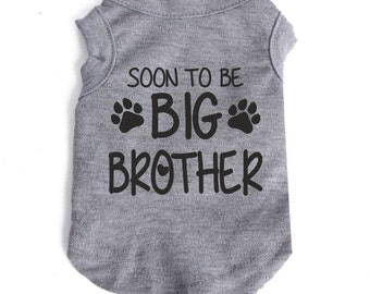 Soon to be big brother announcement vests, new baby, dog/ puppy /small pet vest/ t.shirt, dog apparel.  Custom made dog clothing