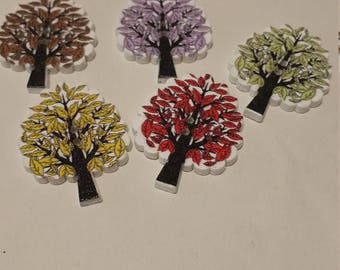"""colourful wooden buttons """"Trees"""""""