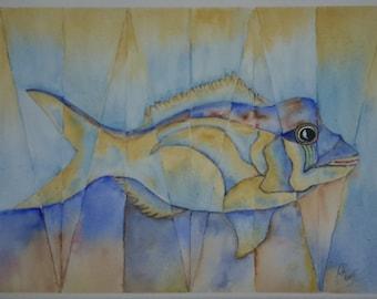 Original Watercolor painting fish