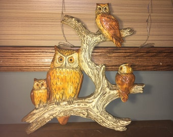 "Vintage Collectible Owls Owl On Limb Medium to Large Wall Decor fit 16"" x 16"" square"