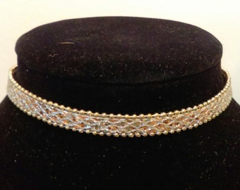 Gold Silver Sparkle Choker, Sparkly Gold Silver Choker, Simple Silver Gold Choker, Gold Silver Leather Choker, Statement Necklace for Wife