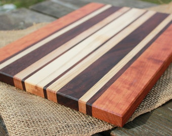 Handmade wood cutting board - cherry, walnut, & maple striped serving board cheese plate custom size housewarming gift wedding gift for cook