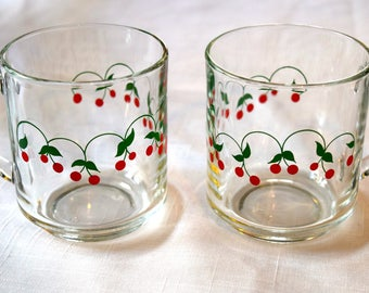 Vintage Glass Cherry mugs / cups Retro Kitchen Mugs
