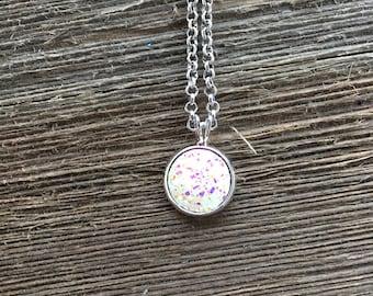 Lace White Druzy Charm Necklace, Faux Druzy Necklace, Small Pendant Necklace