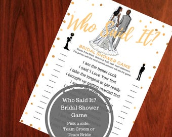 He Said She Said Bridal Shower Game - African American Bridal Shower Game  - Who Said It Bridal Shower Game - Instant Printable Download