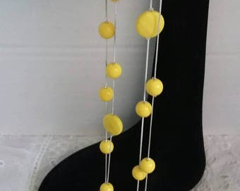 Yellow beads delicate silver necklace