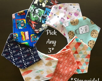 Pick Any 3 Baby Bandana Bibs