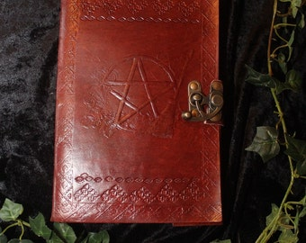 Pentacle and Broomstick Leather Journal with Handmade Paper