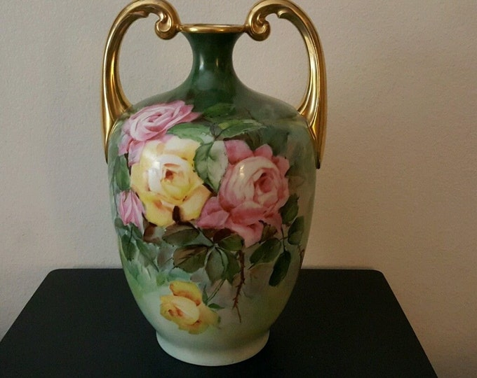 RARE 1909 Antique Pouyat Limoges Muscle Vase SIGNED & NUMBERED!