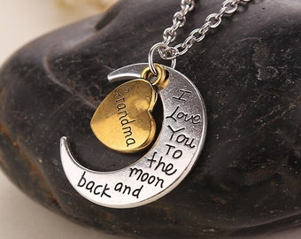 Moon and Back Grandma Necklace