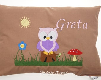 Cushion OWL embroidered with your name