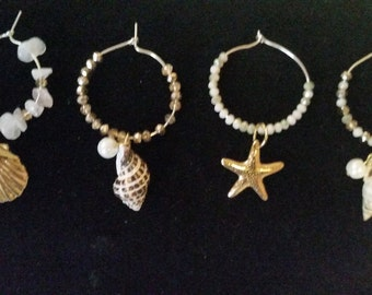 Beach inspired winglass charms set of 4