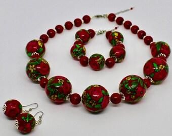 "Ethnic jewelry set ""HIGHLANDER ROSES"" - handmade / in green, white, red, blue, black / original (30mm)"