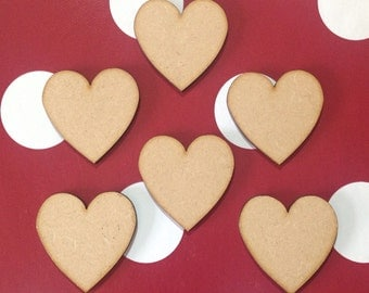 30 Small Wooden Hearts 4cm blank shapes