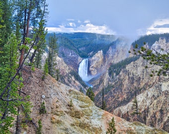 Yellowstone Lower Falls, Nature Photography, Yellowstone Photo, Wyoming Photography, Yellowstone National Park, Nature Decor, Waterfall