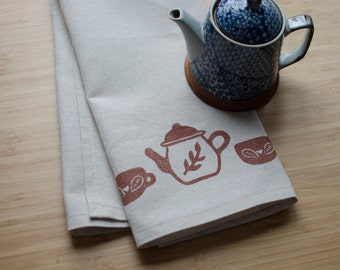 Tea Time Block Printed Tea Towel - Oatmeal, teapot, tea cup