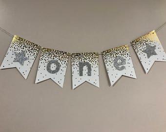Silver Gold Confetti One Baby Cake Smash Birthday Photoshoot Banner