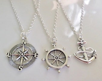 Compass Anchor Rudder necklaces, Set of 3 necklaces, Best friends gifts, Sisters gifts, friendship gift