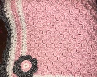 Girl hand crocheted baby blanket