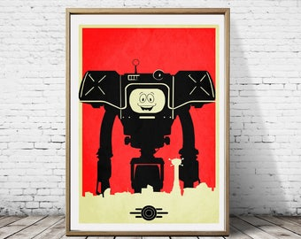 Yes Man Robot Fallout Post Apocalyptic Minimalist Artwork Alternative Gaming Game Print Poster Art Deco