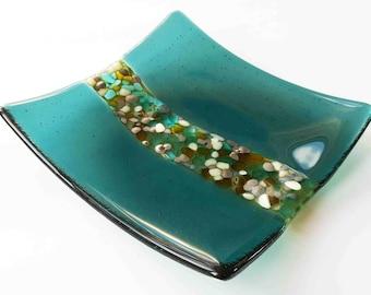 Stunning hand-made sea blue glass plate