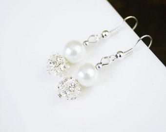 Pearl & Pave Crystal/Rhinestone Bridal, Bridesmaid, or Flower Girl Wedding/Prom Earrings