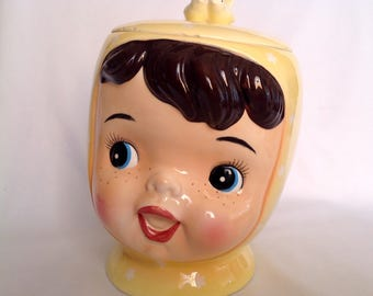 Vintage 1950s Miss Cutie Pie Yellow Cookie Jar