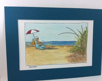 original watercolor painting, Millay beach, Barnstable , Ma watercolor matted 8 x 10 inches