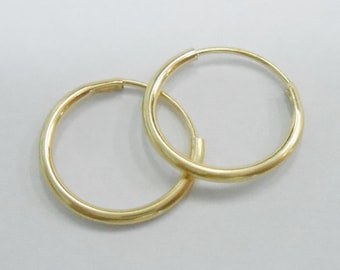 10k Yellow Gold Highly Polished Small Hoop Earrings Hoops #723