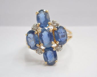 14k Yellow Gold Ring, Sapphire Ring, Oval Sapphire, Cluster Ring, Diamonds, Ring, Size 6, Jewelry, Estate, Sapphires, Ring #1163
