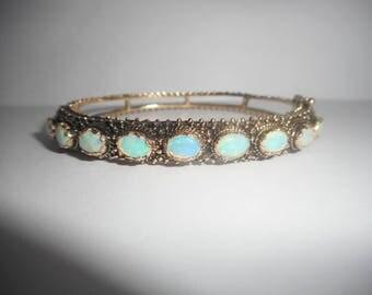 "Opal Bracelet, Opal Bangle, Gold Bangle, Vintage Bangle, Bangle Bracelet, 14k Yellow Gold Oval Opal Hinged Bangle Bracelet 7"" #2565"