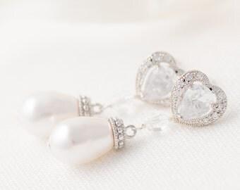 Pearl Drop Earrings Bridal Earrings Pearl Earrings for Bride Pearl Wedding Earrings Bridal Heart Earrings Wedding Jewelry for Brides