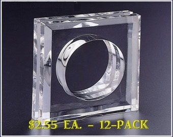 Acrylic Blank Square Napkin Ring (12 - Pack)