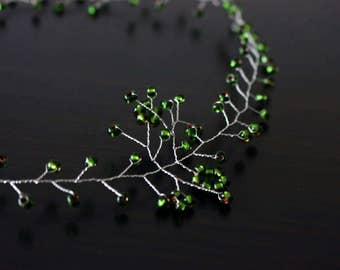 Green hair vine , hair accessories, green bridesmaids accessories