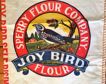 Vintage DEADSTOCK Sperry Flour Company Sack JOY BIRD w/ biscuit recipe Great Graphics 24 lb bag cotton Advertising 50's 40's Vivid Color!
