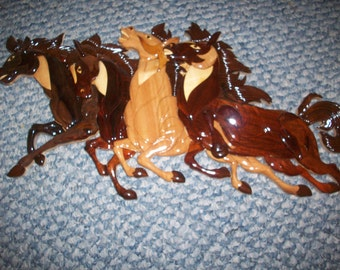 "Running Horses #2 wood intarsia wall art - 20"" x 9"""