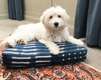 Indigo African Mud Cloth Dog or Pet Bed - Small - Large Dogs