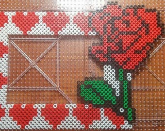 Hearts and Roses picture frame handcrafted using Perler Beads