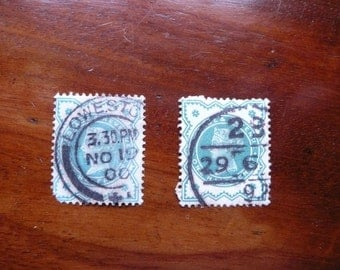 Queen Victoria - pair of Half-penny stamps