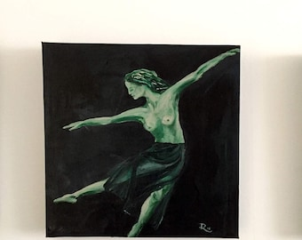 Dancing in green light-acrylic paintings-square-Dim. 30 x 30 x 3 cm-small painting series of 3