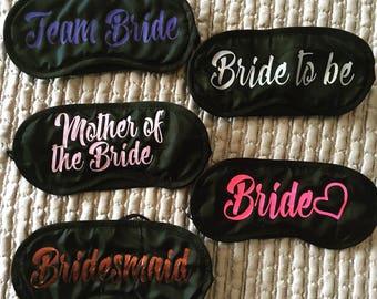 Personalised Sleeping Eye Mask, Bride to be, Wedding, Travel Mask, Hen Party, Blindfold