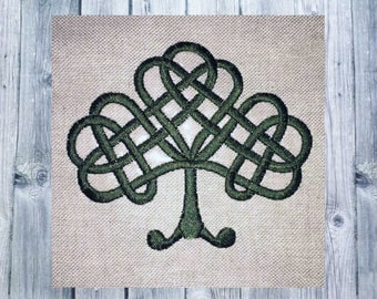 Embroidery, Celtic knots, embroidered tree, 10 x 10 frame, satin stitch, Medieval clothing, Celtic art, sewing projects