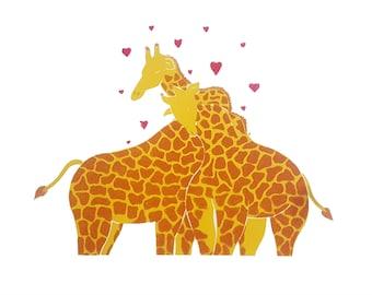 Giraffe love original screen print
